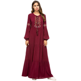 turkish party dresses UK - Red Abaya Muslim Women Embroidery Maxi Dress Dubai Kaftan Islamic Party Gown Jilbab Puff Sleeve Loose Long Robe Turkish Clothing