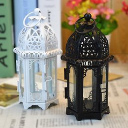 $enCountryForm.capitalKeyWord Australia - Candle Holder European Style Iron Glass Candlestick Lantern Moroccan Style Candles Lantern Transparent Glass Black   White