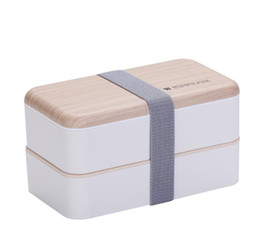 venda por atacado Hot Cozinha Micro Double Layer Lunch Box 1200ml sentimento de salada de madeira Bento Box BPA Free Portable Container Food Box trabalhadores estudantes