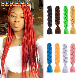 blonde braids 2019 - Synthetic Braiding Hair Crochet Braids Hair Extensions Jumbo Braids 24inch Ombre Kanekalon Hairstyles Pink Blonde Xpress