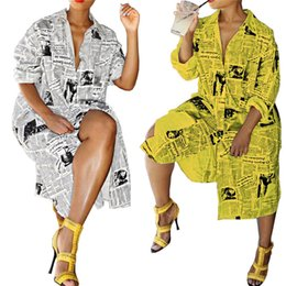 $enCountryForm.capitalKeyWord Australia - Lke8017 Women's Clothes Forking Single Row Buckle Newspaper Printing Shirt Collar Dress women new summer