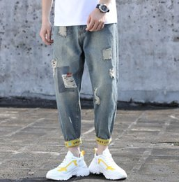 Bicycle new style online shopping - Hole jeans mens jeans new designer mens jean brand Student jean stretch jeans men trend pants street hip hop riding pants bicycle men jean