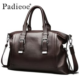 business briefcases men NZ - Vintage Genuine leather Men's Briefcase Business Men Messenger Casual Shoulder Bag Brand Office fashion designer handbags tote Free shipping