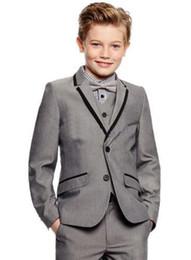 Dark Green Tie Grey Suit Australia - Back Vent Two Buttons Light Grey Boy's Formal Wear Occasion Notch Lapel Kids Tuxedos Wedding Party Suits (Jacket+Pants+Vest+Tie) K2