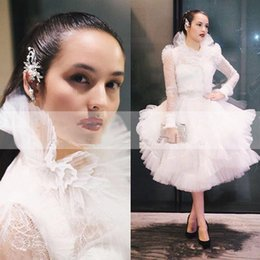 Short White Puffy Tea Dresses NZ - Ashi Studio 2019 High Neck Puffy Prom Dresses With Long Sleeve Tea Length Lace Formal Evening Occasion Gowns Coaktail Party Wear Short