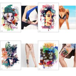 $enCountryForm.capitalKeyWord Canada - Colored Drawing Fashion Beauty Women Decal Temporary Tattoos Sticker Body Art Water Transfer Paper Waterproof for Women Men Tattoo Sticker