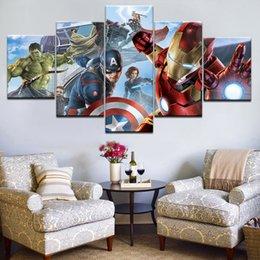 Опт 5 панелей Печатных Super Hero Мстители Капитан Халк картина на холсте для детской комнаты декор стены Картина на холсте, плакат картины 4.3