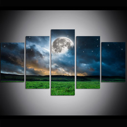 oil paint grass 2019 - 5 Piece Large Size Canvas Wall Art Moon with Grass Oil Painting Wall Art Pictures for Living Room Paintings Wall Decor