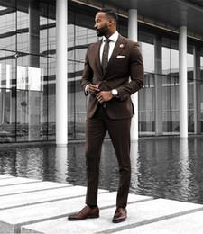 Beige Slim Suits For Men Australia - Brown Wedding Suits 2019 Slim Fit Bridegroom Tuxedos For Men 3 Pieces Groomsmen Suit Formal Business Tuxedos (Jacket+Pants+Vest +Tie)