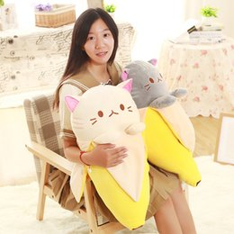 anime hot pillow 2019 - HOT Anime Banana Cat Plush Stuffed Toy Cushion Doll Kids Birthday Gifts Home Decor TI99 cheap anime hot pillow