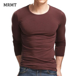 Discount mens cotton lycra t shirts MRMT 2020 Lycra Cotton Men'S T-Shirt 5XL Long Sleeved T Shirt Men Pure Color Casual Mens Long Sleeve Tshirt For Mal