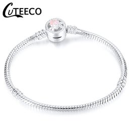$enCountryForm.capitalKeyWord Australia - CUTEECO Daisy Cherry Blossom Charm Bracelet 2018 New Silver Color Snake Chain Fits Brand Bracelet For Women Jewelry Gift