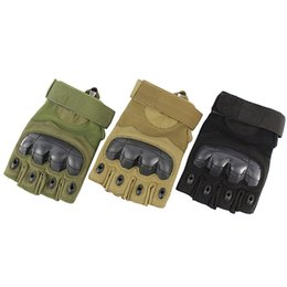 Half fingers tactical gloves online shopping - Half Finger Cycling Gloves Solid Anti Skid Tactical Gloves Soft Armed Army Shooting Combat Rubber Knuckle New