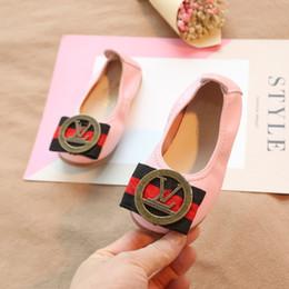 $enCountryForm.capitalKeyWord Australia - Fashion Brand child Set of feet Korean Egg roll shoes grils spring New Soft bottom lovely Bow Single shoes metal leather Children's shoes