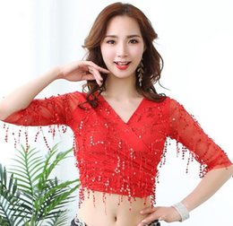 womens red blouses Australia - Womens Glitter Sequin Tassel Halter Crop Top Sexy V Neck Belly Dance Long Sleeve Blouse Red Black X-Large