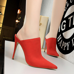 Red Suede Booties Women Australia - European and American style fashion simple super high heel sexy thin suede pointed deep mouth slippers women's shoes half slippers