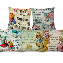vintage cartoon pillow cases Australia - 11 Styles Fair Tale Alice in Wonderland Cushion Covers Cartoon Retro Vintage Painting Bunny Flowers Cushion Cover Sofa Linen Pillow Case