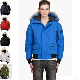 Short Sleeve white denim jacket online shopping - Hot selling top brand men outdoor MAO men winter down jacket coat minus Canada fur collar can remove casual hiking