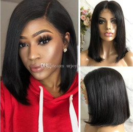 long lace wig cuts UK - Celebrity Wig Bob Cut Lace Front Wigs 10A Grade Chinese Remy Human Hair Natural Color Bob Full Lace Wigs Fast Express Shipping
