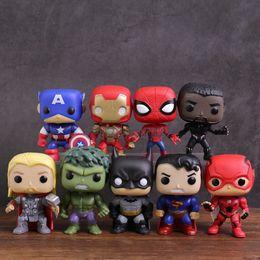 12 Spiderman Figures Australia - Super Hero Toys 9pcs set Captain America Spiderman Iron Man Black Panther Flash Hulk Thor Batman Superman Pvc Figures Dolls Q190604