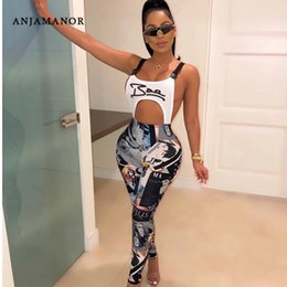 print jumpsuits for women NZ - ANJAMANOR Fashion Graffiti Print Sexy Bodycon Jumpsuit Buckle Hollow Out Backless Overalls for Women Club Outfits D91-AC63 V200325