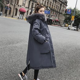 women big hoods down coats Australia - Winter Big Fur Hood Long Down Coat Jacket Thick Warm Women Casaco Feminino Abrigos Mujer Invierno Cotton Padded Wadded Parkas 09