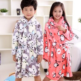 flannel nightgown cartoon Canada - Children'S Bathrobes Printing football stars Autumn Winter Big boy Cartoon Lengthened Flannel Robes for boy girls Kids 5-13 age SH190912