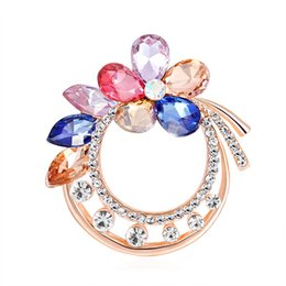 $enCountryForm.capitalKeyWord Australia - Fashion Flower Scarves Buckle for Women Scarf Cute Rhinestone Brooches Badge for Party 2019 Glass Brooch Pin for Party