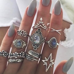 water drop rings NZ - 11 Pcs set Women Boho Carving Flowers Leaves Water Drop Stars Crystals Gem Joint Ring Lady Party Silver Wedding Ring