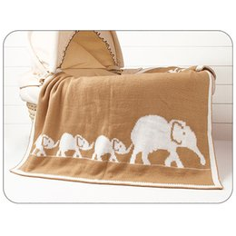 christmas quilt bedding Canada - New Cartoon Elephant Printed Baby Blanket Knitted Newborn Swaddle Wrap Blankets Super Soft Toddler Infant Bedding Quilt Blankets
