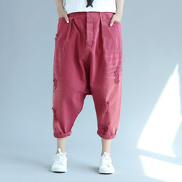 285247904a7 Women New Baggy Harem Denim Pants Hip Hop Drop Crotch jeans Washed  calf-Length Boho Cross Trousers Japanese Style Jeans G050504  574781