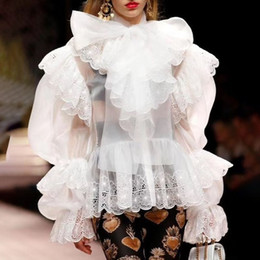 Lace Long sLeeve womens top online shopping - Elegant Womens Shirts Blouse Bowknot Puff Long Sleeve Patchwork Lace Embroidery Hem Tops Female Spring New