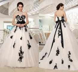 Champagne Wedding Dress Black Sash Australia - 2019 New Arrival Black And White A-Line Bridal Wedding Dresses Sweetheart Corset Back Bow Sash Floral Bridal Gowns
