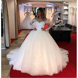 cheap red petticoat Australia - Send Petticoat 2019 New Arrival Robe de Mariage Cheap Long Sleeve Lace Wedding Dress Bridal Ball Gown Professional Custom