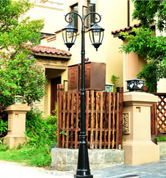 led street light casting Australia - LED Cast Aluminum Double Head Solar Lamp Post Light Street Light for Outdoor Landscape Pathway Driveway Street Patio Garden Yard Lawn