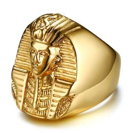 $enCountryForm.capitalKeyWord Australia - Vnox Pharaoh Shaped Rings For Men Women Rings Gold Tone Stainless Steel Rock Punk Ancient Egypt Male Finger Ring Accessories
