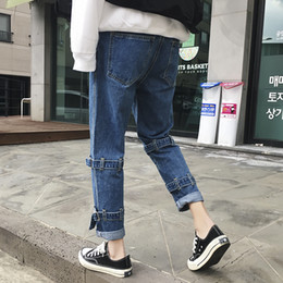 Denim Haren Pant NZ - 2019 Men's Haren Stretch Casual Pants Slim Fit Classic Skinny Jeans Black blue Color Buckle Bring Biker Denim Trousers S-3XL