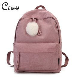 pretty school bags NZ - Fashion Fuzzy Ball Design Girl School Backpack High Quality Corduroy School Bag Pretty Style Students Durable Book Bag Satchel Y19062401