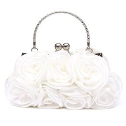 White bridal clutches online shopping - Floral Ladies Clutch Bag Women Evening Party Bag Prom Bridal Diamante Baguette