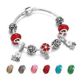 $enCountryForm.capitalKeyWord NZ - Fashion Sliver Women Flower Beads Bracelet Red Pink Crystal Charm Bracelets&Bangles Femme Fit Origin DIY Jewelry Friendship Gift