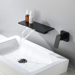 Wholesale Waterfall Faucet Matte Black Wall Mounted Bathroom Bathtub Faucet Large Shelf Platform Basin Water Mixer Quality Tap