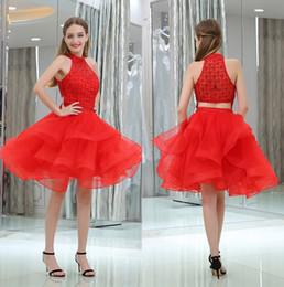 881af0dde Una línea de rojo sexy sin respaldo cristales de cuentas Vestidos de  regreso a casa cortos Cuello redondo de tul Dulce vestidos de fiesta Grado  corto ...