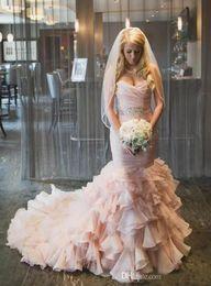 sweetheart wedding dress mermaid crystals 2019 - 2019 Charming Sweetheart Mermaid Wedding Dresses Off the Shoulder Romantic Crystal Sash Layer Ruffles Bridal Gowns Sweep