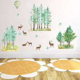 Wall Stickers For Bedrooms Australia - Cartoon Forest Tree Branch Animal Deer Wall Stickers For Kids Boys Girls Children Bedroom Home Decor