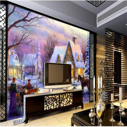 3d Wall Sticker Fairy NZ - custom size 3d photo wallpaper room mural castle fairy tale world oil painting 3d picture sofa TV backdrop wallpaper non-woven wall sticker
