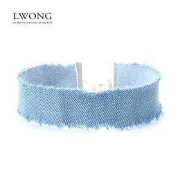 Girocolli Larghezza Choker di jeans blu per donne Jeans denim strappati Girocollo Collana girocollo Gioielli Collier Ras Du Cou in Offerta