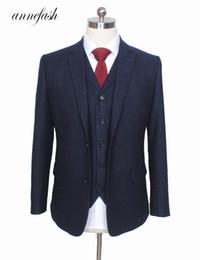 Copper Suits Australia - Custom Made Retro Melange Color Spot Copper Navy Woolen Tweed Suit British Style Mens Suit Slim Fit Blazer Wedding Suit 3pcs Y190422
