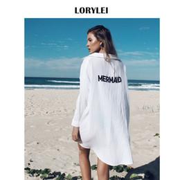$enCountryForm.capitalKeyWord Australia - Front Short Back Long Mermaid Print Beach Top Shirt Dress White Cotton Tunic Women Summer Beachwear Bathing Suit Cover Ups N324 Y19071801