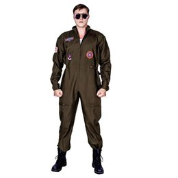 Christmas Jumpsuit Costumes NZ - New Arrival Men's Top Gun Costume Masquerade Gun Jumpsuit Carnival Party Performance Movie Strong Clothing For Male Suits