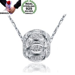 $enCountryForm.capitalKeyWord Australia - OMHXZJ Wholesale European Fashion Woman Man Party Wedding Gift Silver Beads 925 Sterling Silver Necklace Pendant Charm CA102